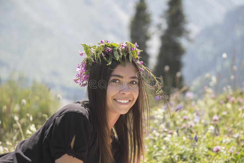 Portrait of a cute smiling girl stock photo