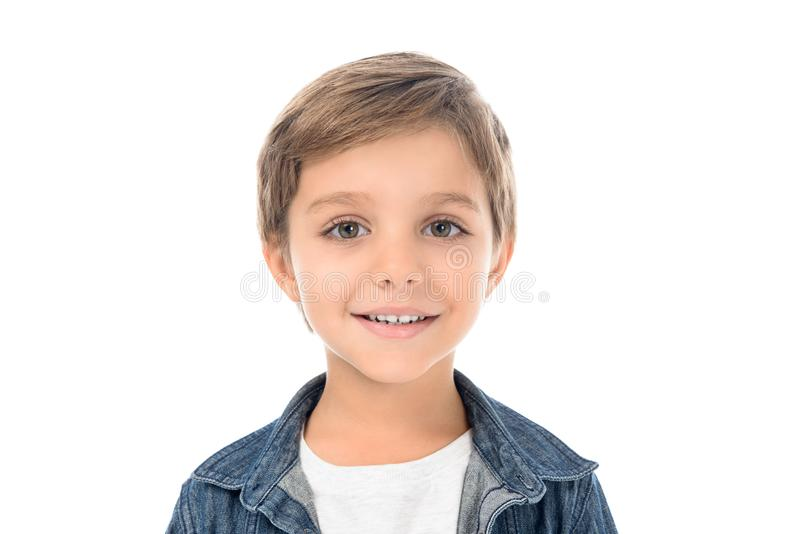 portrait of cute smiling little boy looking at camera royalty free stock photos