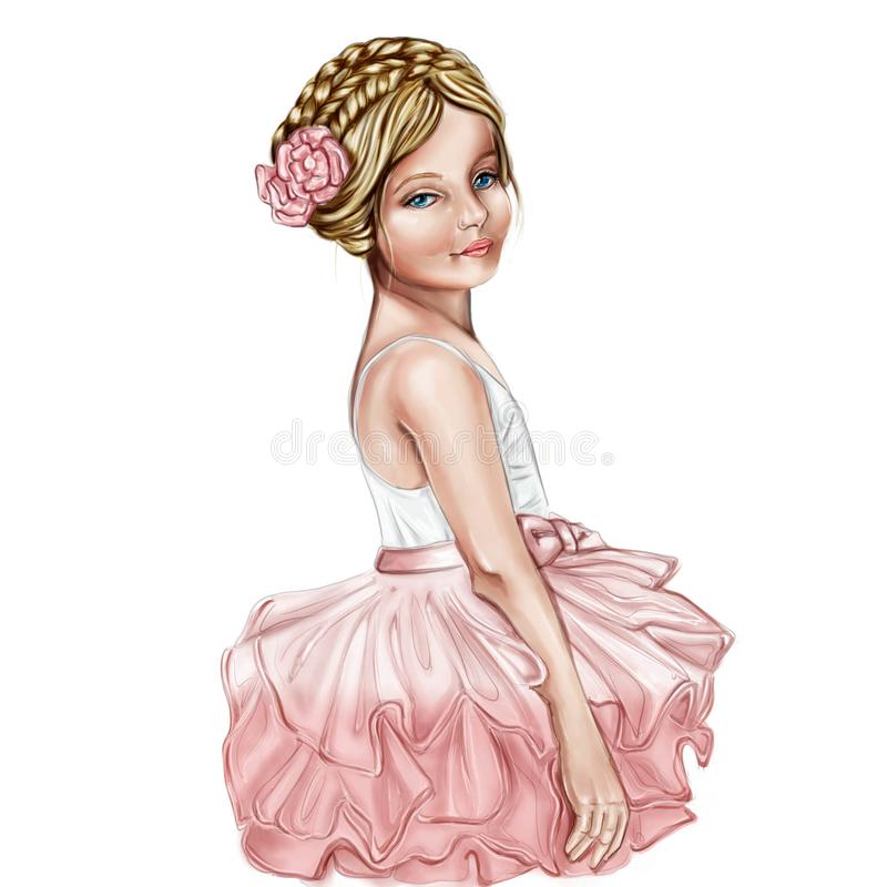 Portrait of Cute and smiling little girl wearing a ballerina costume stock illustration