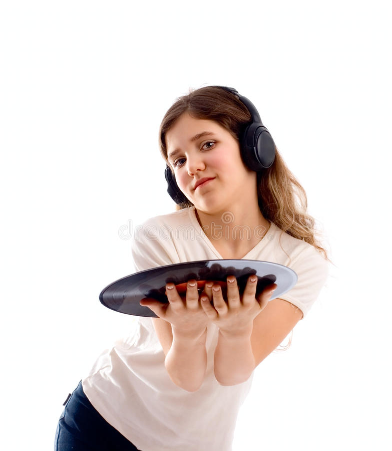 Portrait of cute teen music girl