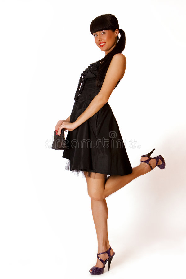 Portrait Of A Cute Young Girl In Black Dress Royalty Free Stock Photography
