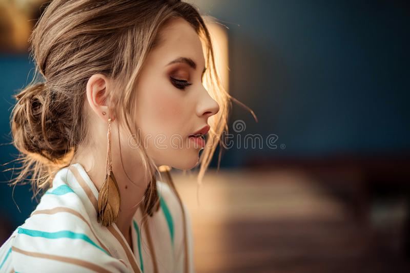 Portrait of cute young girl in full face stock image
