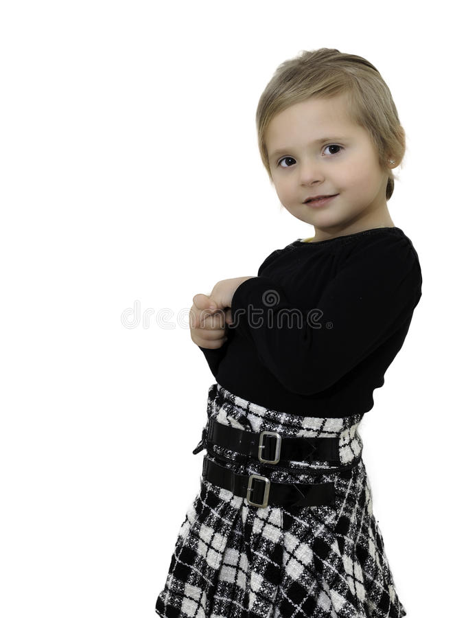 Portrait of a cute young girl on white royalty free stock photo