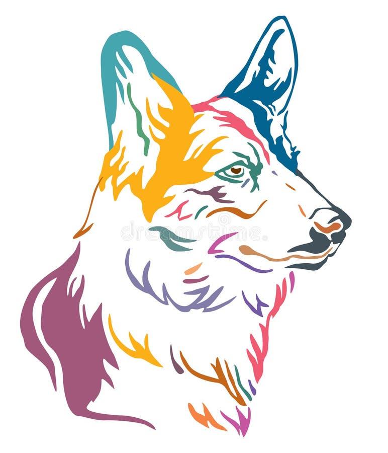 Portrait décoratif coloré d'illustration de vecteur de corgi de Gallois de chien illustration libre de droits