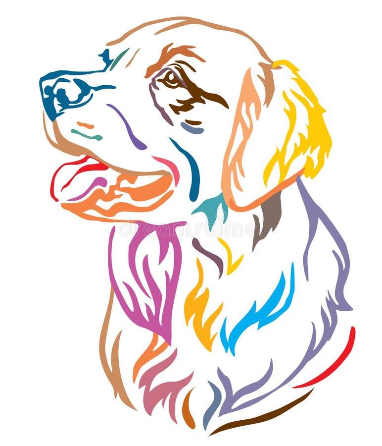 Portrait décoratif coloré d'illustration de vecteur de golden retriever de chien illustration de vecteur