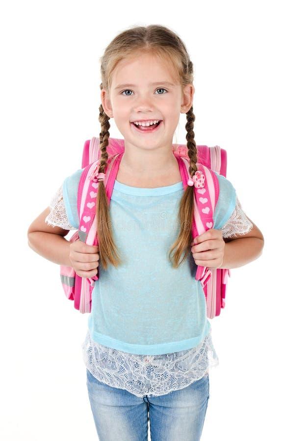 Portrait d'écolière de sourire avec le sac d'école image libre de droits
