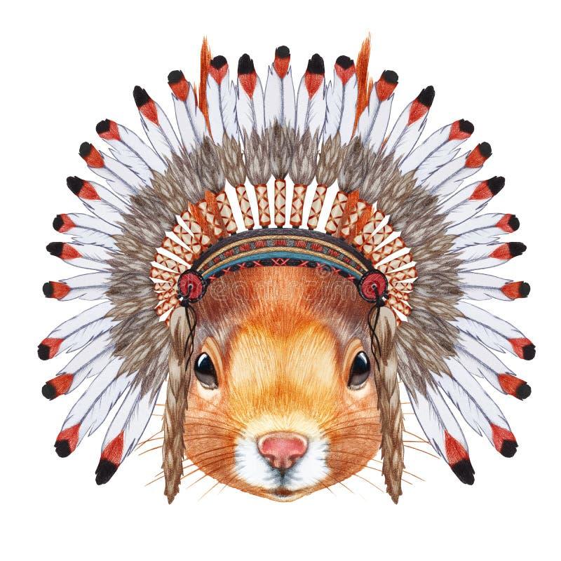 Portrait d'écureuil dans le capot de guerre illustration libre de droits