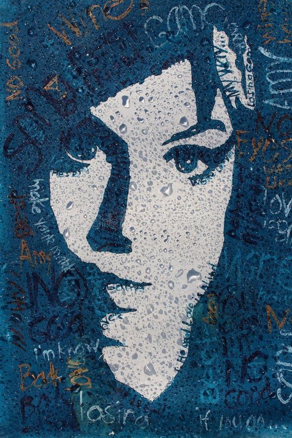 Portrait d'Amy Winehouse avec des gouttes de pluie de filtre, toile, peinture acrylique photographie stock