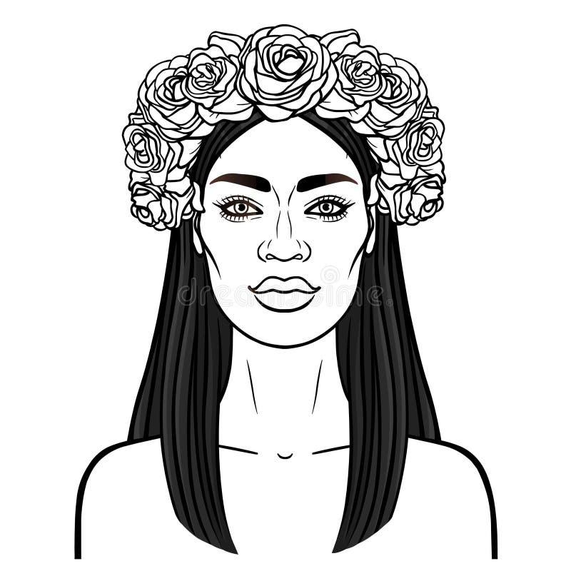 Portrait d'animation de la jeune belle femme africaine dans une guirlande des roses illustration de vecteur
