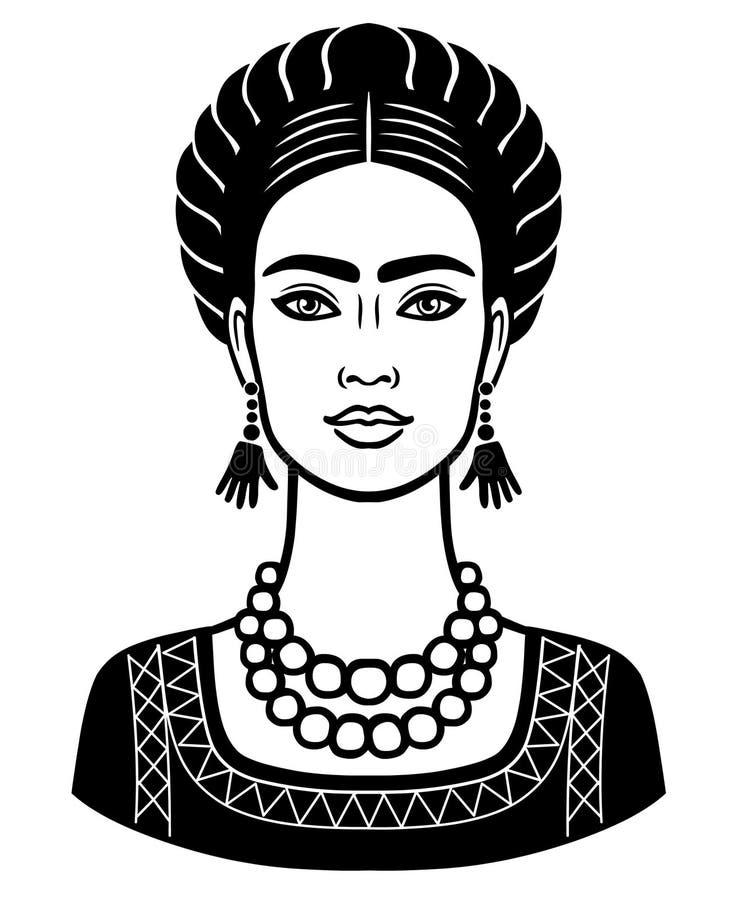 Portrait d'animation de la jeune belle femme mexicaine avec une coiffure traditionnelle illustration de vecteur