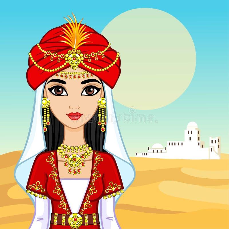 Portrait d'animation de la princesse arabe dans des vêtements antiques illustration de vecteur