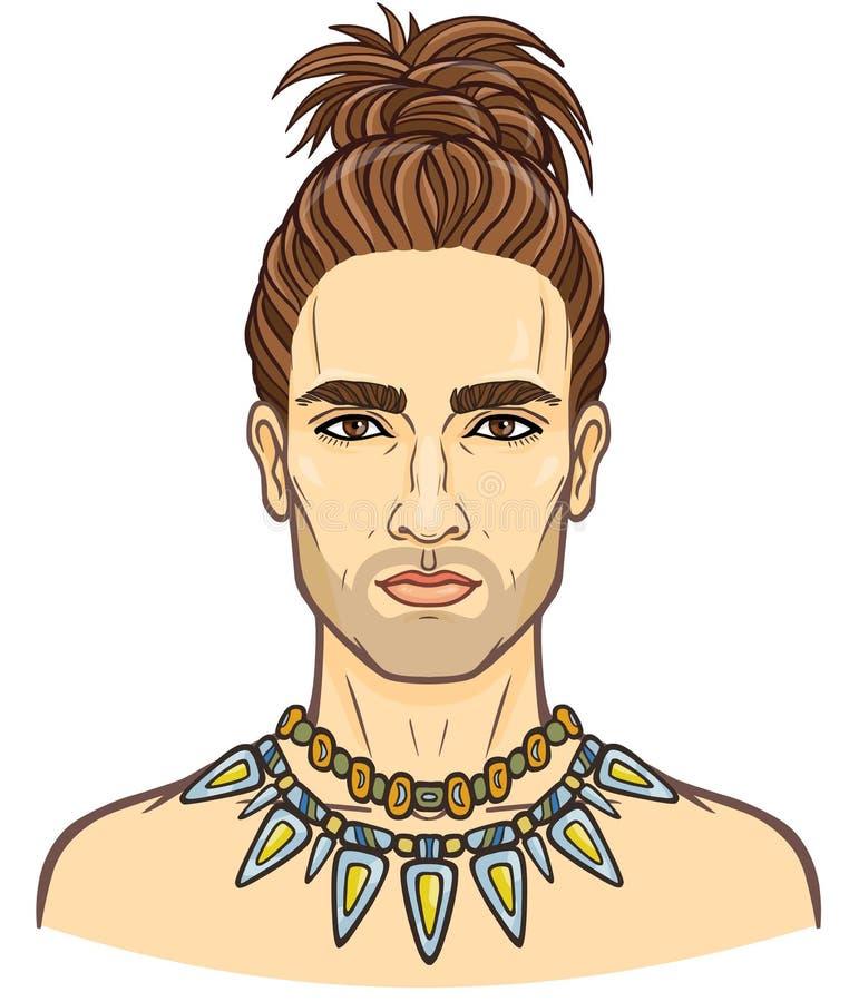Portrait d'animation du jeune homme barbu attirant avec une coiffure élégante illustration de vecteur