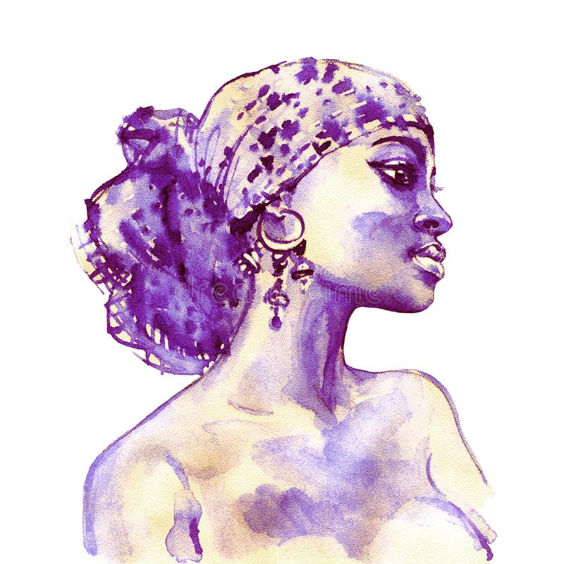 Portrait d'aquarelle de femme africaine illustration de vecteur