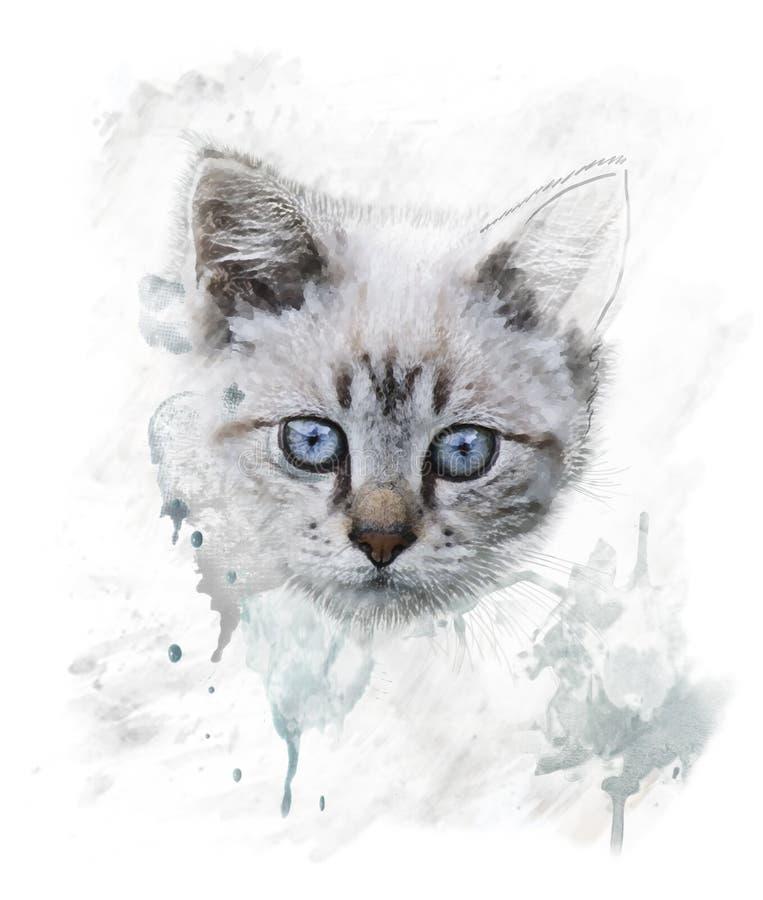 Portrait d'aquarelle de jeune chat illustration stock