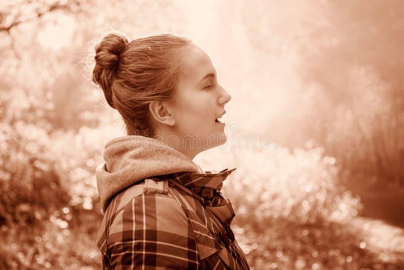Portrait d'automne d'une belle fille image stock