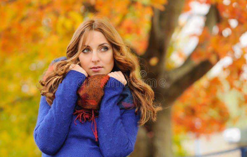 Portrait d'automne de belle jeune femme élégante attirante à b photos libres de droits