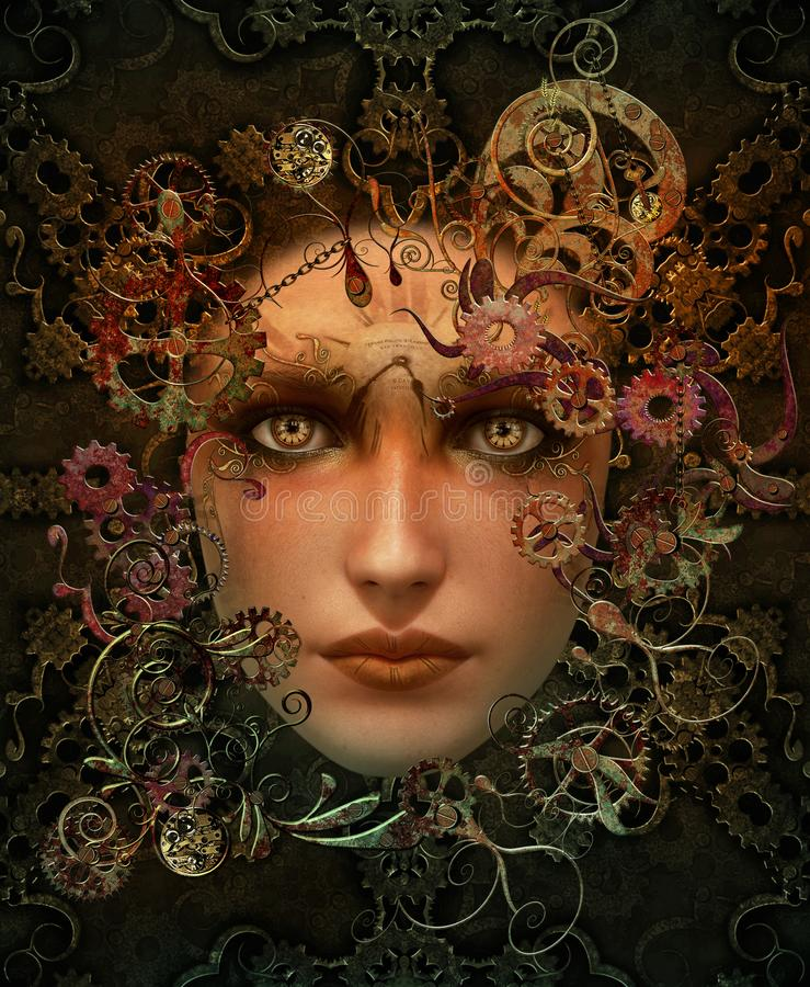 Portrait 3d CG. de Steampunk illustration libre de droits
