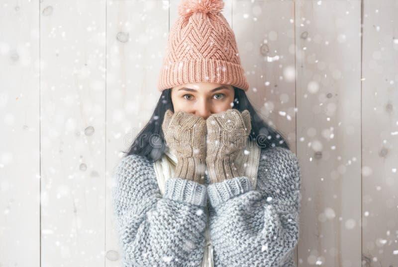 Portrait d'hiver de jeune femme photographie stock libre de droits