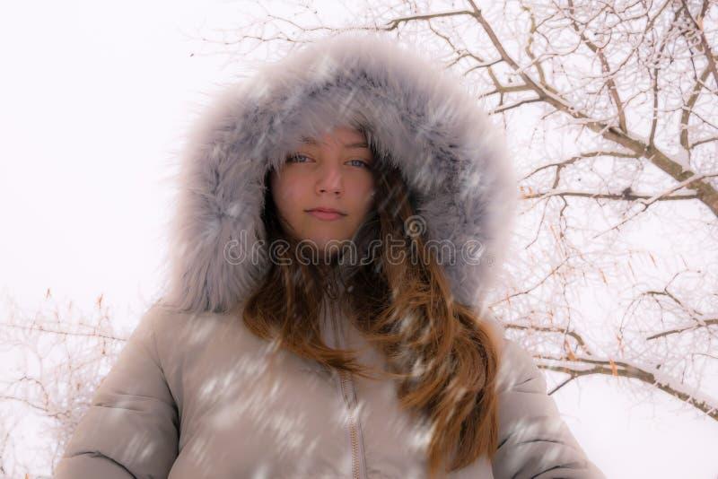 Portrait d'hiver Fille avec l'habillement d'hiver photo stock