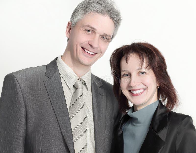 Portrait d'homme d'affaires et de femme d'affaires D'isolement sur le fond blanc photographie stock
