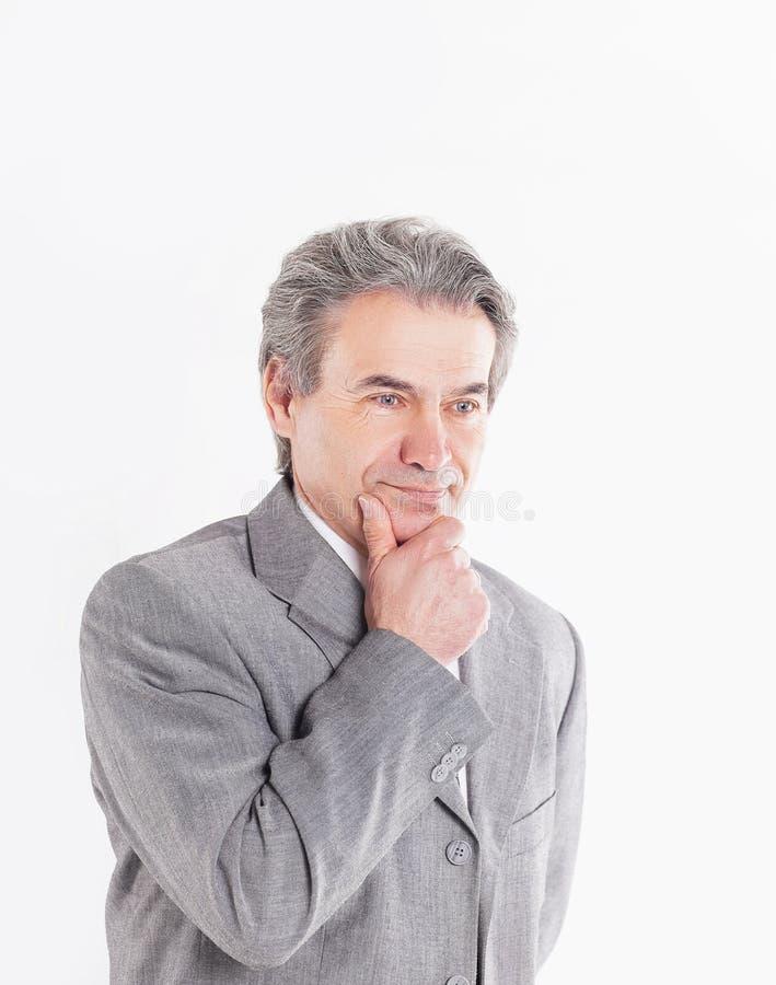 Portrait d'homme d'affaires songeur sur le fond blanc Photo avec l'espace de copie photographie stock libre de droits