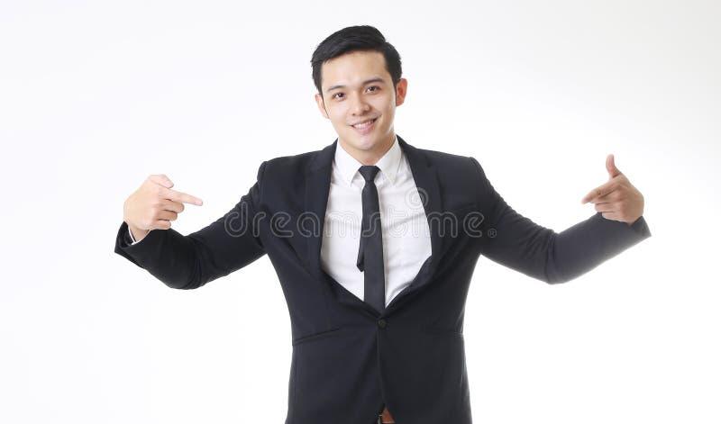 Portrait d'homme asiatique d'isolement et de fond avec le signe de geste images stock