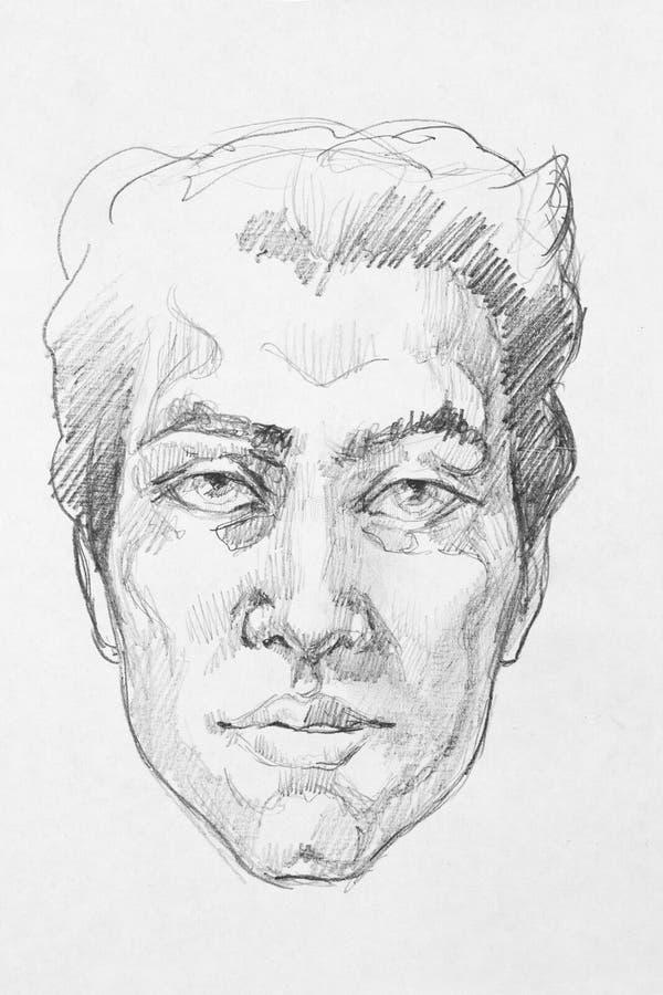 Portrait d'homme d'abrégé sur dessin au crayon illustration de vecteur