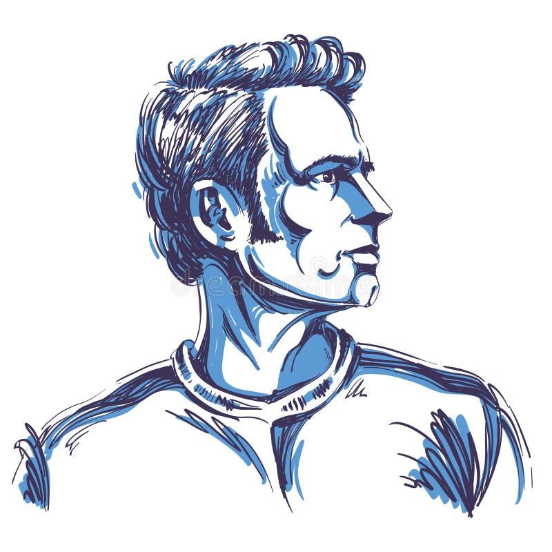 Portrait d'homme songeur bel, type intéressé, VE coloré illustration de vecteur