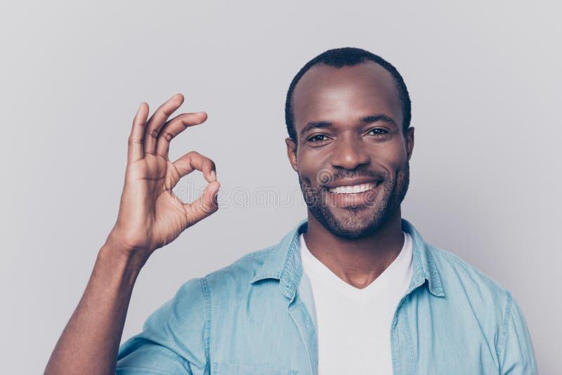 Portrait d'homme viril, dur, à la mode, gai, heureux avec le beami images libres de droits