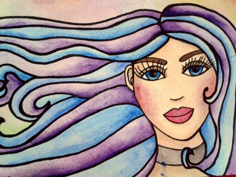 Portrait d'illustration d'aquarelle de fille illustration libre de droits