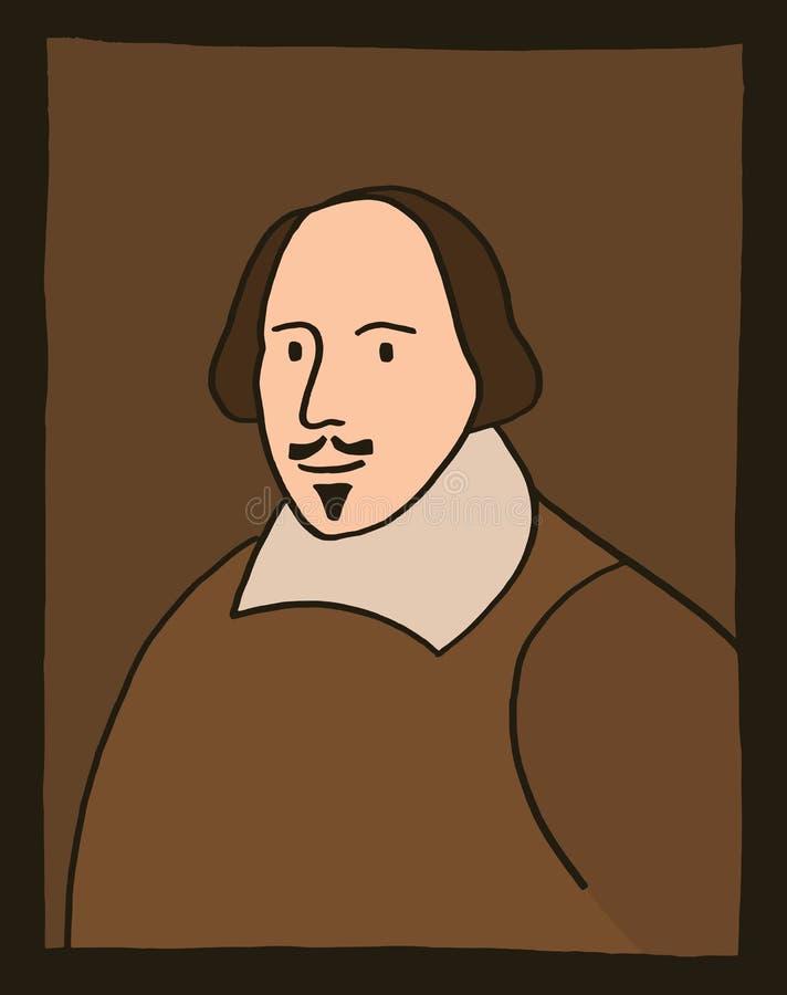 Portrait d'illustration de William Shakespeare illustration de vecteur