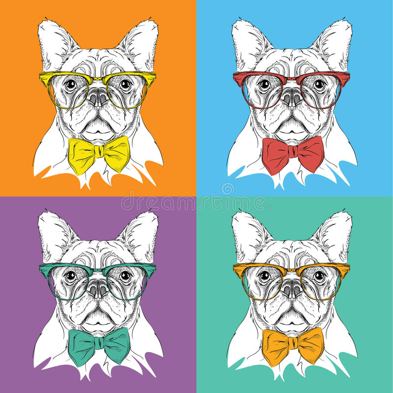 Portrait d'image de chien dans le foulard et avec des verres Illustration de vecteur de style d'art de bruit illustration libre de droits
