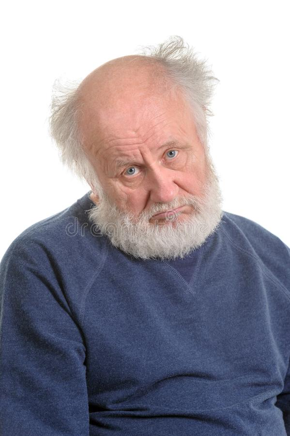 Portrait d'isolement baissant triste de vieil homme photos libres de droits