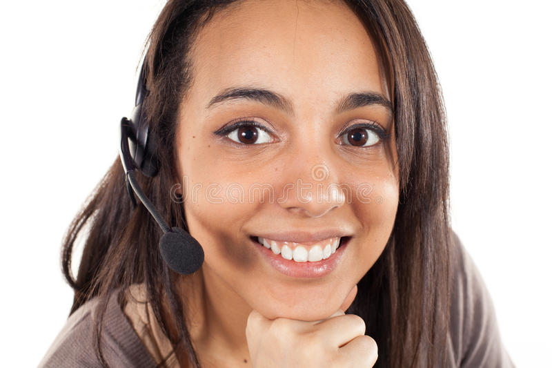 Portrait d'opérateur gai de sourire heureux de téléphone de soutien photographie stock libre de droits