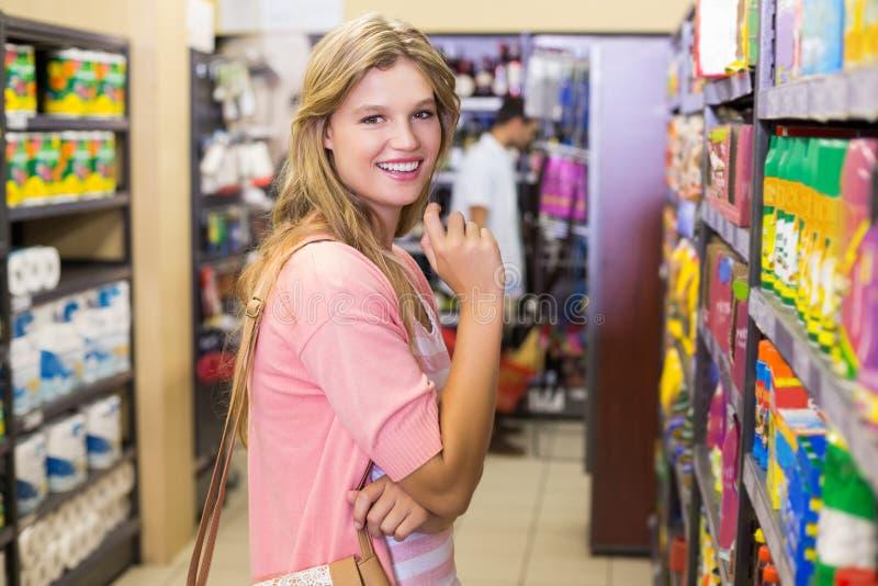 Download Portrait D'un Achat De Sourire De Jeune Femme Produits Photo stock - Image du étagère, consommateur: 56488004