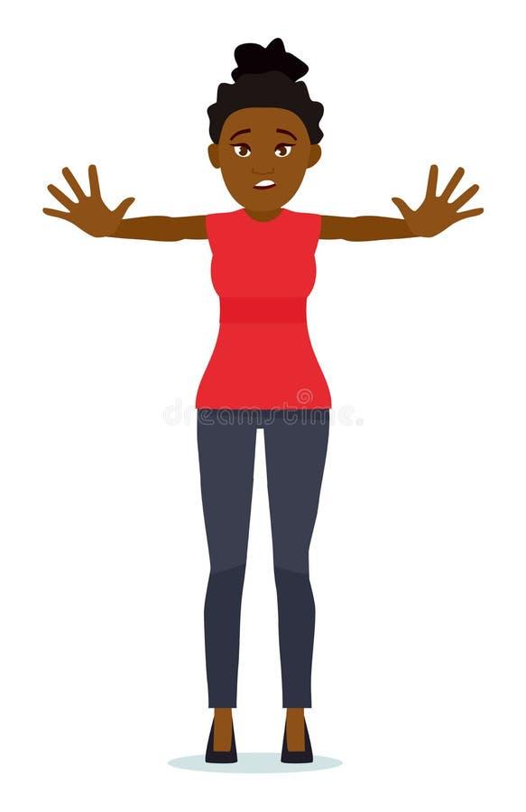 Portrait d'un beau signe d'arrêt d'apparence de fille avec des paumes d'isolement sur un fond blanc Expression du visage humaine, illustration libre de droits