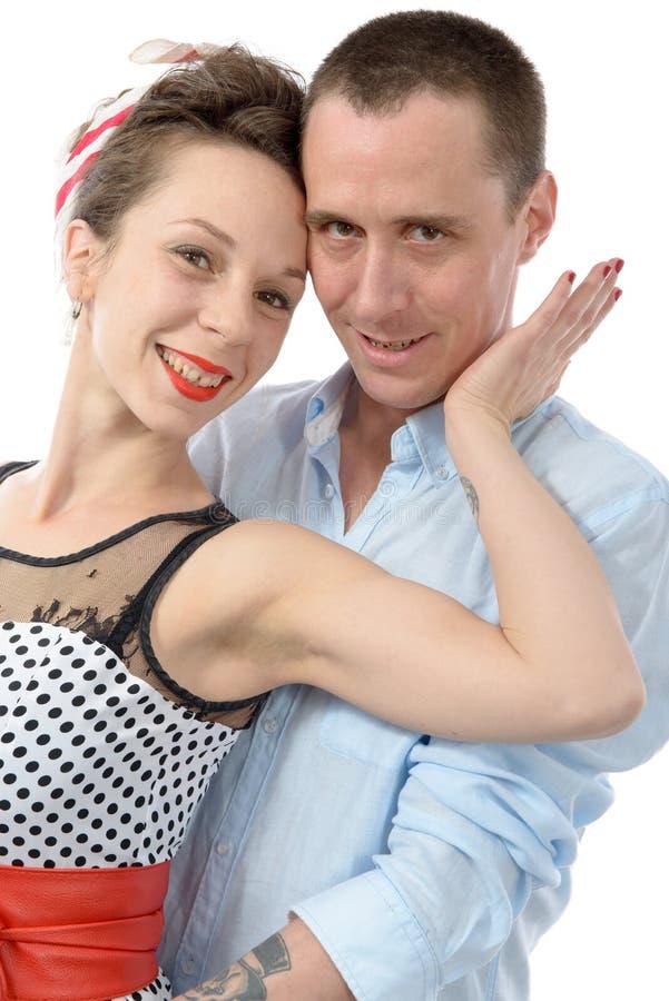 Portrait d'un couple affectueux, sur le blanc image libre de droits