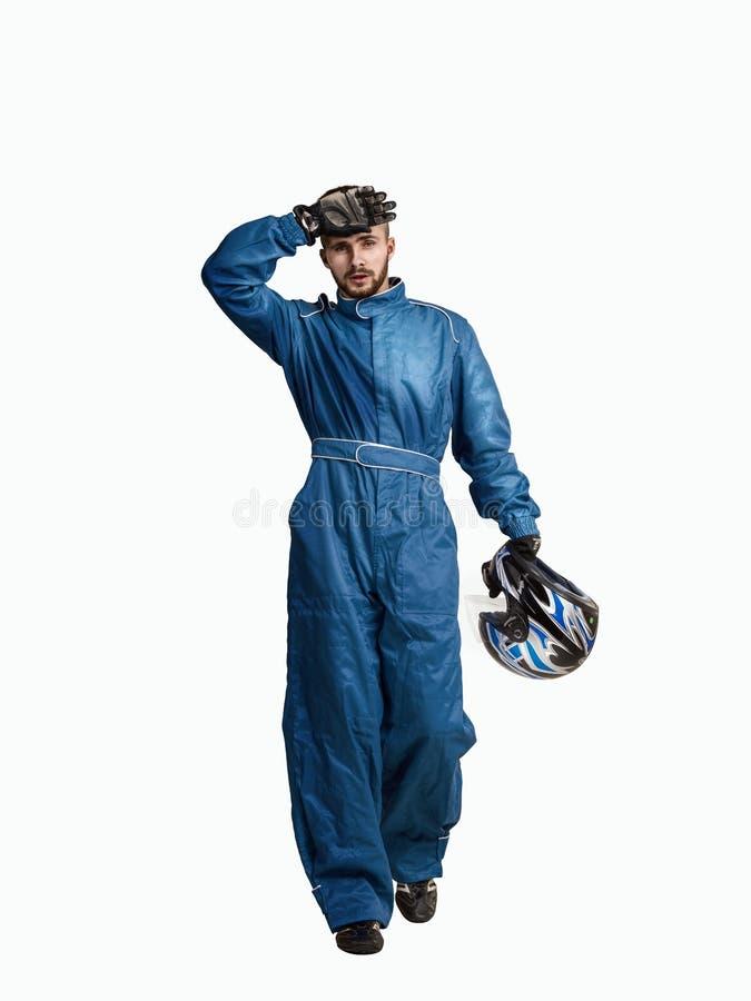 Portrait d'un coureur avec l'isolement de casque sur le blanc photo libre de droits