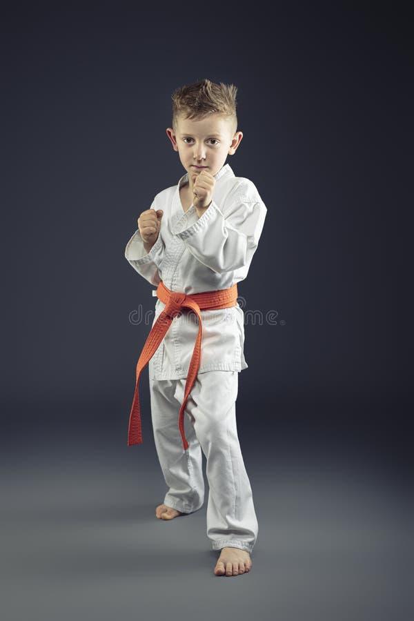 Portrait d'un enfant avec des arts martiaux de pratique de kimono photographie stock libre de droits