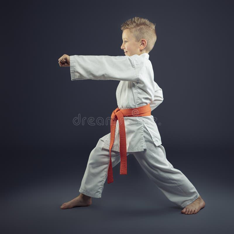 Portrait d'un enfant avec un karaté de pratique de kimono image libre de droits