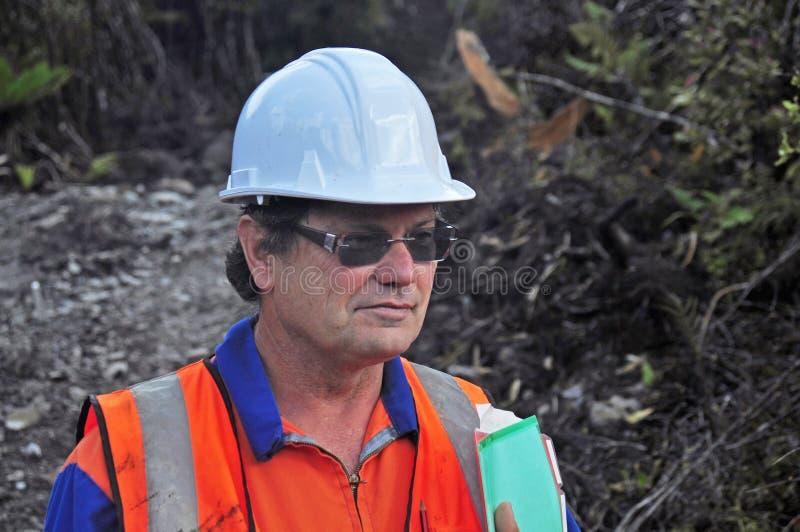 Portrait d'un géologue travaillant dehors image libre de droits