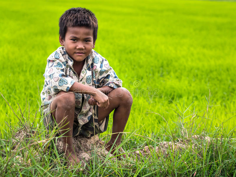 Portrait d'un garçon cambodgien image stock
