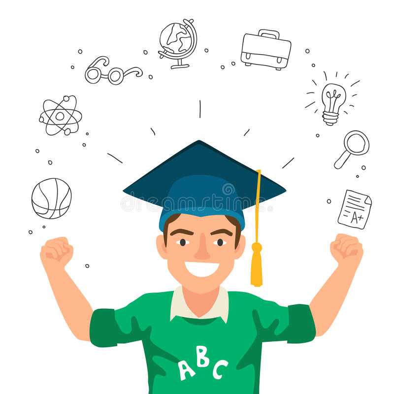 Portrait d'un garçon dans un chapeau du diplômé illustration libre de droits