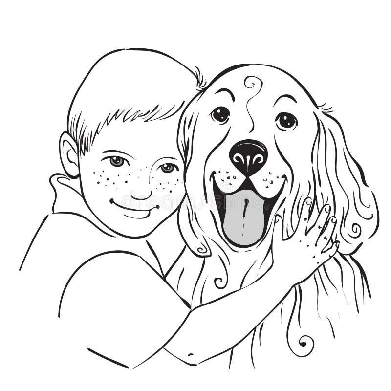 Portrait d'un garçon et d'un chien illustration libre de droits