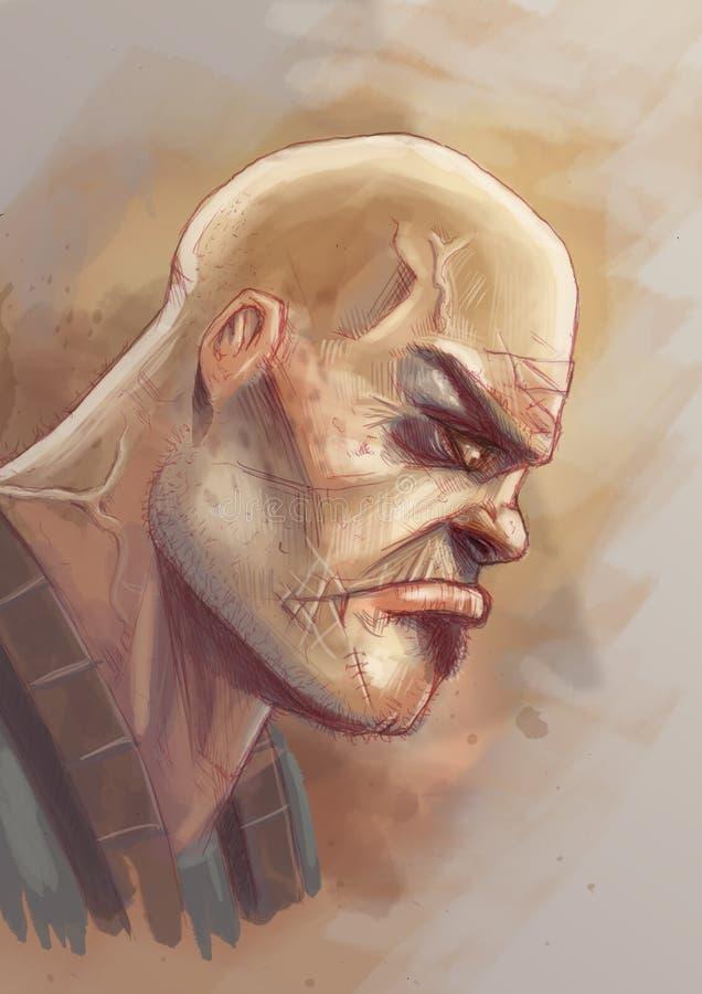 Portrait d'un gars dur illustration de vecteur