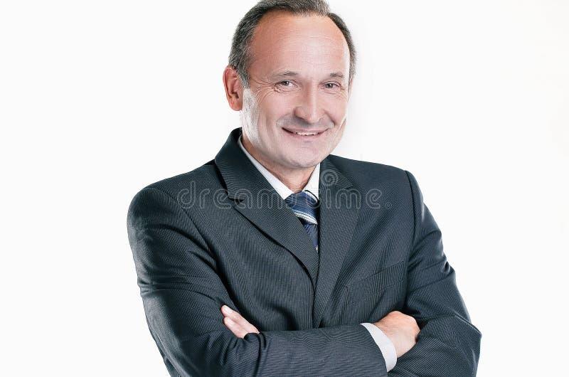 Portrait d'un homme d'affaires r?ussi d'isolement sur la lumi?re photos stock