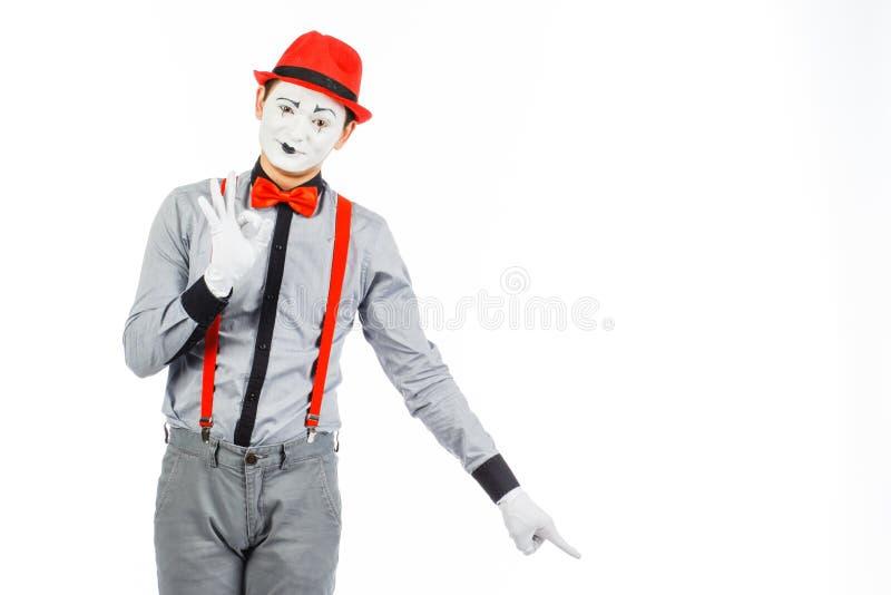 Portrait d'un homme, artiste, clown, MIME Expositions quelque chose, d'isolement images libres de droits