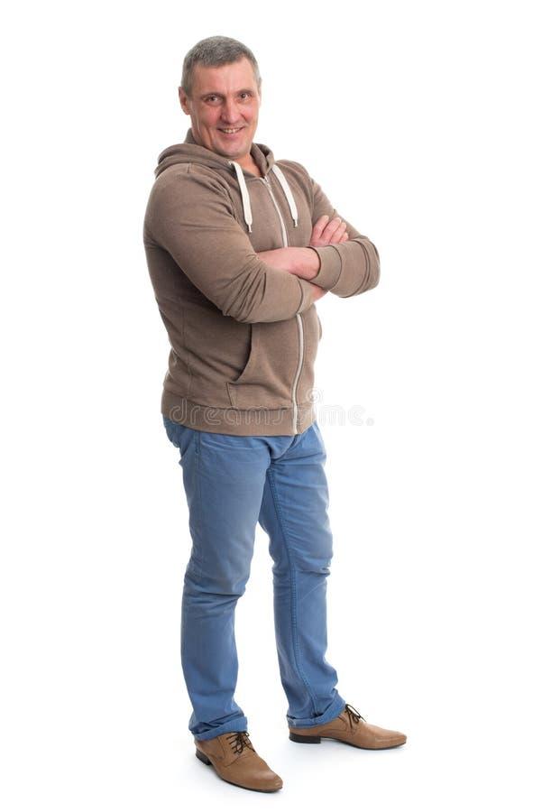 Portrait d'un homme mûr heureux d'isolement photo libre de droits