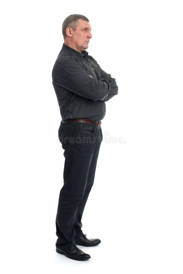 Portrait d'un homme mûr heureux d'isolement image libre de droits