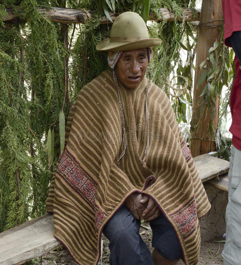 Portrait d'un homme péruvien indigène utilisant la robe longue andine typique photos libres de droits